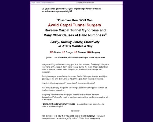 Carpal Tunnel Remedy - Carpal Tunnel Master, Self-Help Remedy for Carpal
