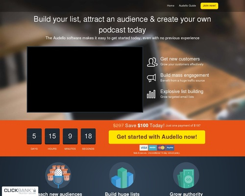 Audello - The Traffic Getting, List Building Podcast Platform