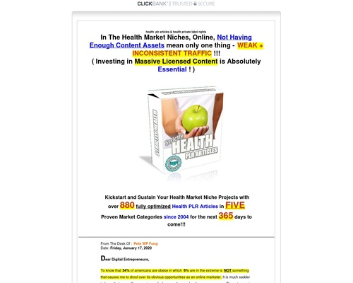 The Strictly Health PLR Articles Pack Vol.1