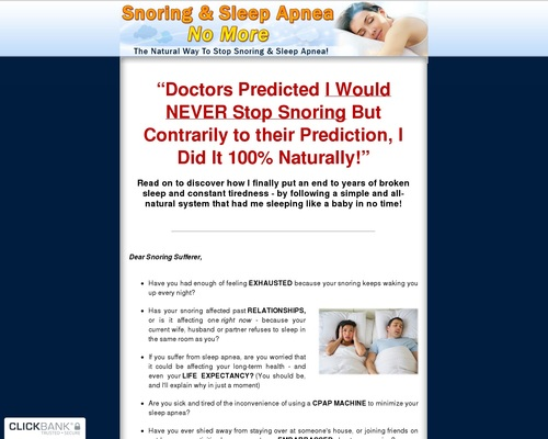 Snoring & Sleep Apnea No More - The Natural Way To Stop Snoring And Sleep