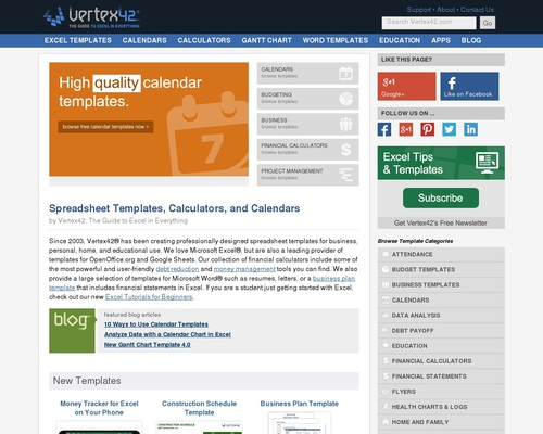 Vertex42 - Excel Templates, Calendars, Calculators and Spreadsheets