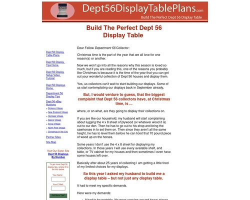 Dept 56 Display Table Plans