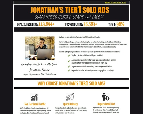 New 2019 Jonathan's Tier1 Solo Ads - Get 4000+ Clicks - 800+ Optins
