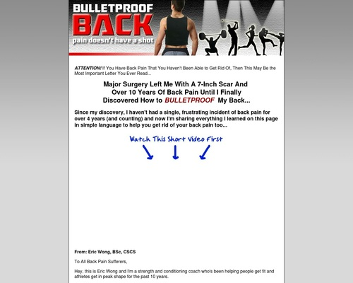 Eliminate Your Back Pain for Good with the Bulletproof Back System