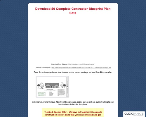 Blueprints for Houses, Cabins, Garages and Barns: Download 50 Complete