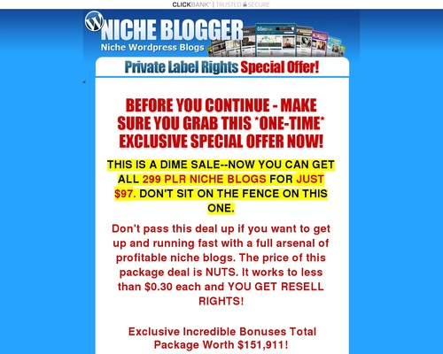 The Niche Blog Pack - 299 Niche PLR WordPress Blogs With Content
