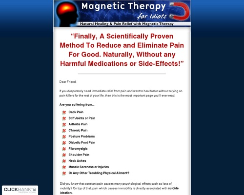 Magnetic Therapy For Idiots - Natural Healing And Pain Relief With Magnetic