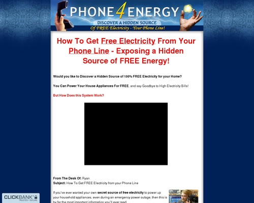 Phone 4 Energy - Discover a Hidden Source of Free Electricity - Your Phone