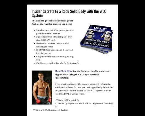 Insider Secrets to a Rock Solid Body with the WLC System - Weight Lifting
