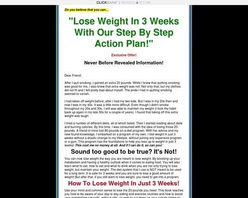 Lose 20 Pounds in Three Weeks!