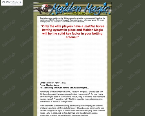 Maiden Magic- The Original Horse Betting System - Maiden Horse Betting System