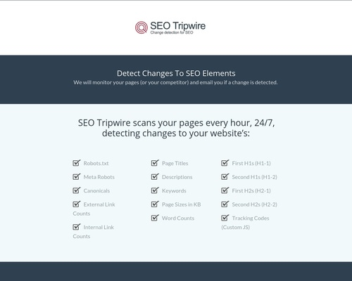 Product - SEO Tripwire: Change Detection and Monitoring for SEO