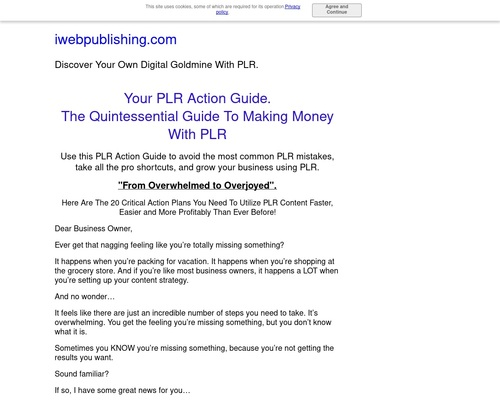 Your PLR Action Guide. The Ultimate Guide To Making Money With PLR.