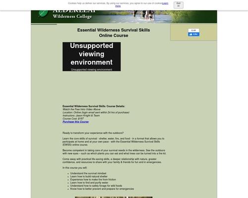Essential Wilderness Survival Skills Online Course - CB Offer