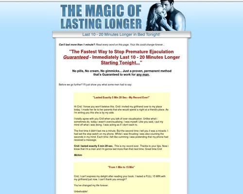 The Magic Of Lasting Longer - Stop Premature Ejaculation and Last Longer in
