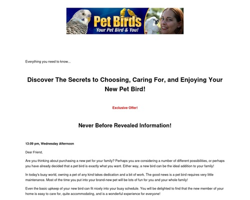 Discover The Secrets to Choosing, Caring For, and Enjoying Your New Pet Bird!