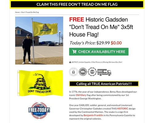 Claim Your FREE Don't Tread On Me Flag Today!